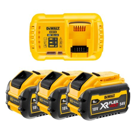 Kit tres baterias Dewalt Flexvolt 9ah con cargador dcb118